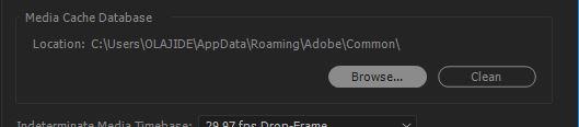 Generating Peak Files Premiere Pro browse location