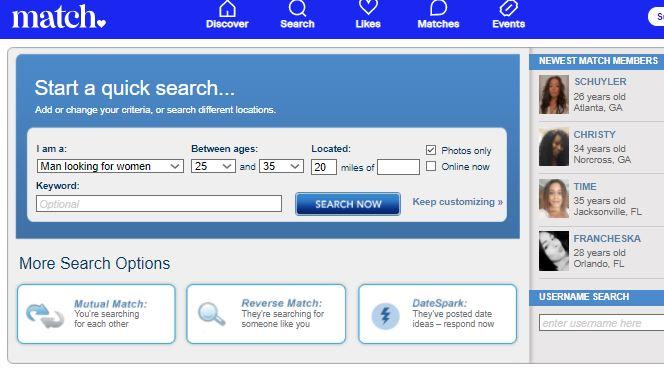 Match.com quick search