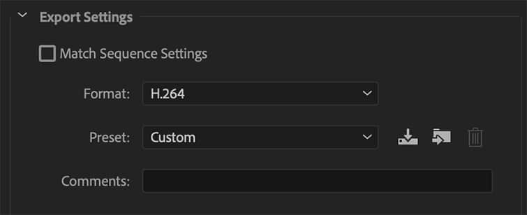 How to Export Premiere Pro - Select Your Sequence Settings