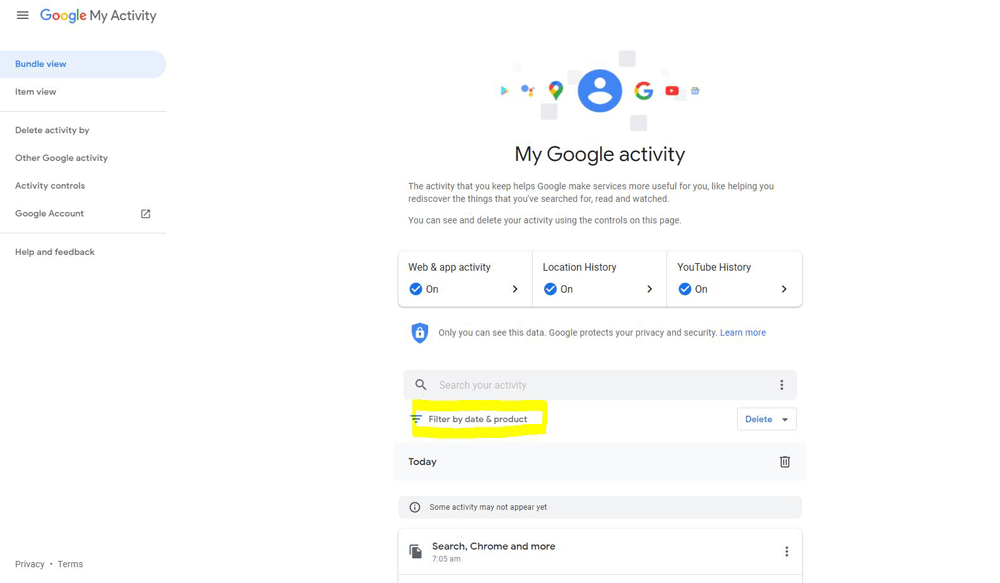 how to search chrome history by date