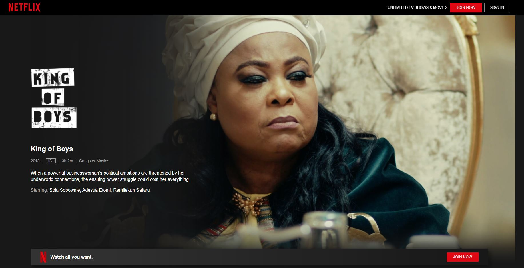 Nollywood Movies on Netflix - king of boys