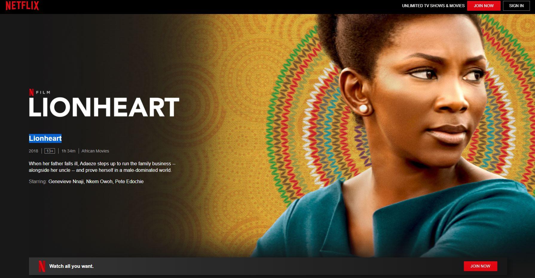 Lionheart Nollywood Movies on Netflix