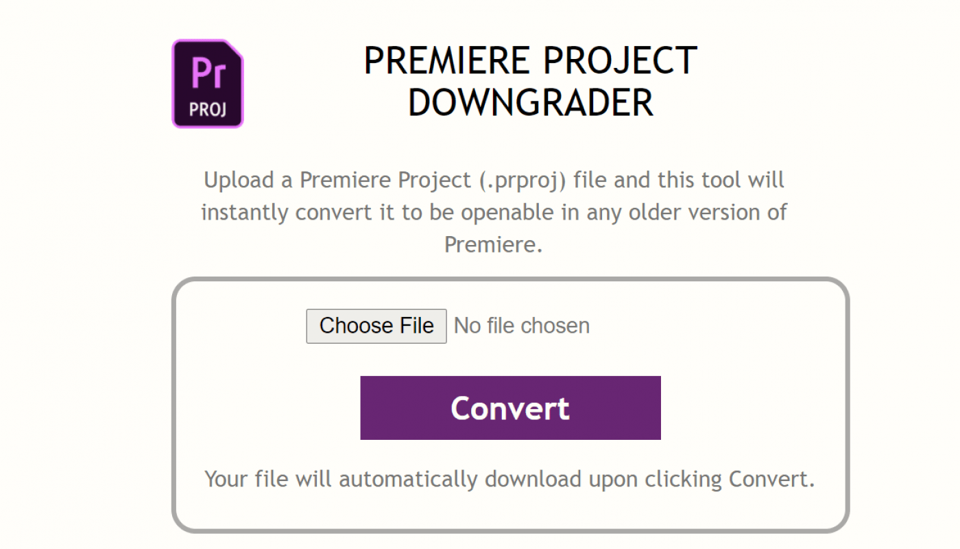 premiere project downgrader