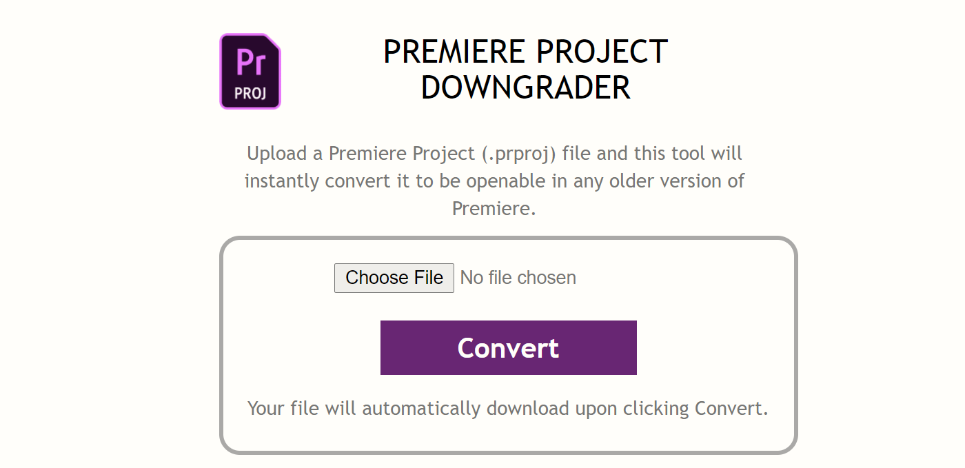 Premiere Project Downgrader: Convert Premiere Project To Older Version
