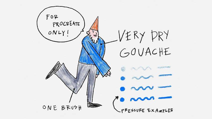 Very Dry Gouache Brush for Procreate