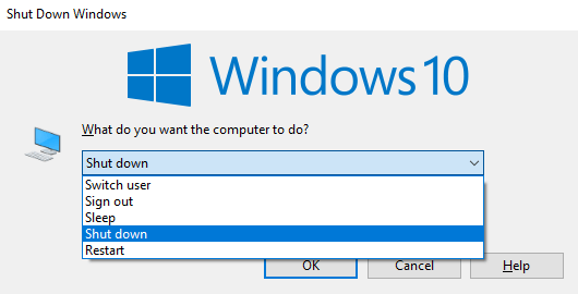shutdown command dialog box
