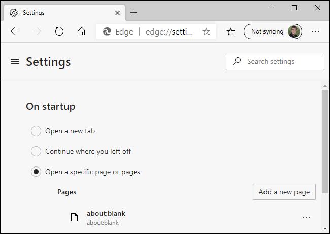 about:blank Microsoft edge
