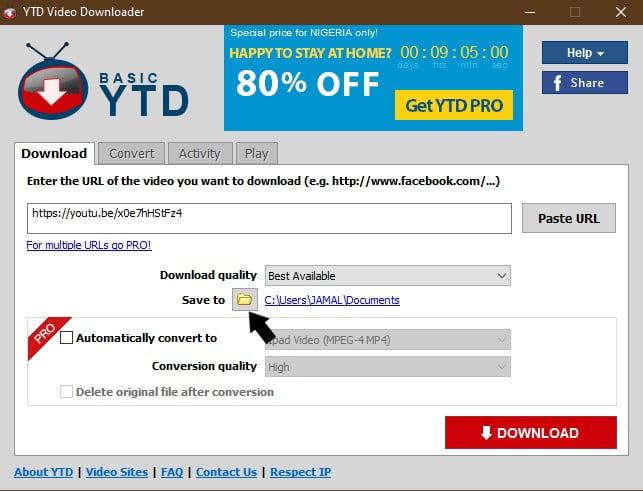 YTD Video Downloader video destination folder